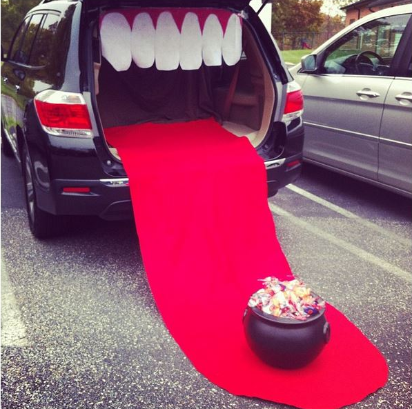 car dress up with teeth and tongue