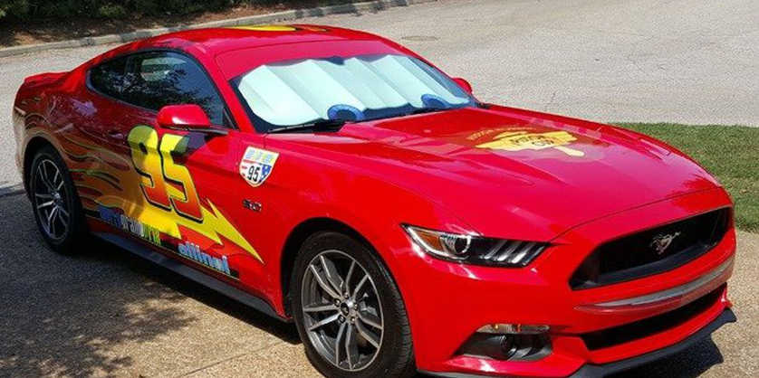 Mustang disguised as Lightning McQueen