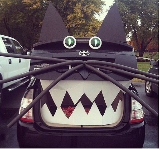 car dressed up as black cat