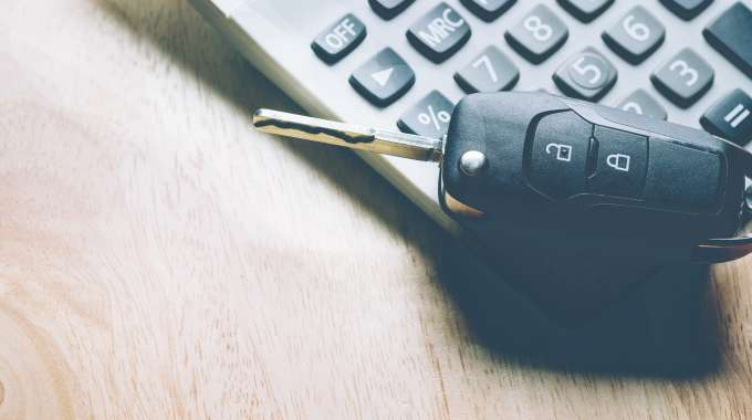 Car keys and a sales tax calculator