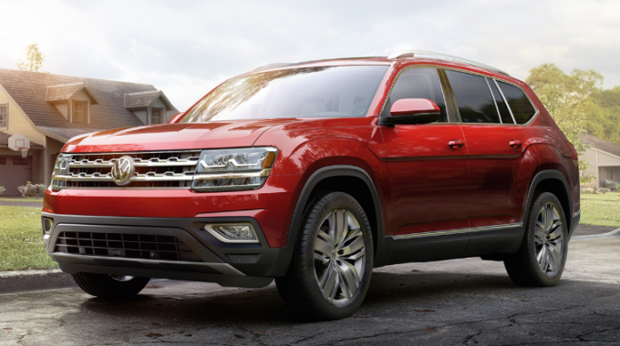 Recalled Volkswagen Atlas driving down road