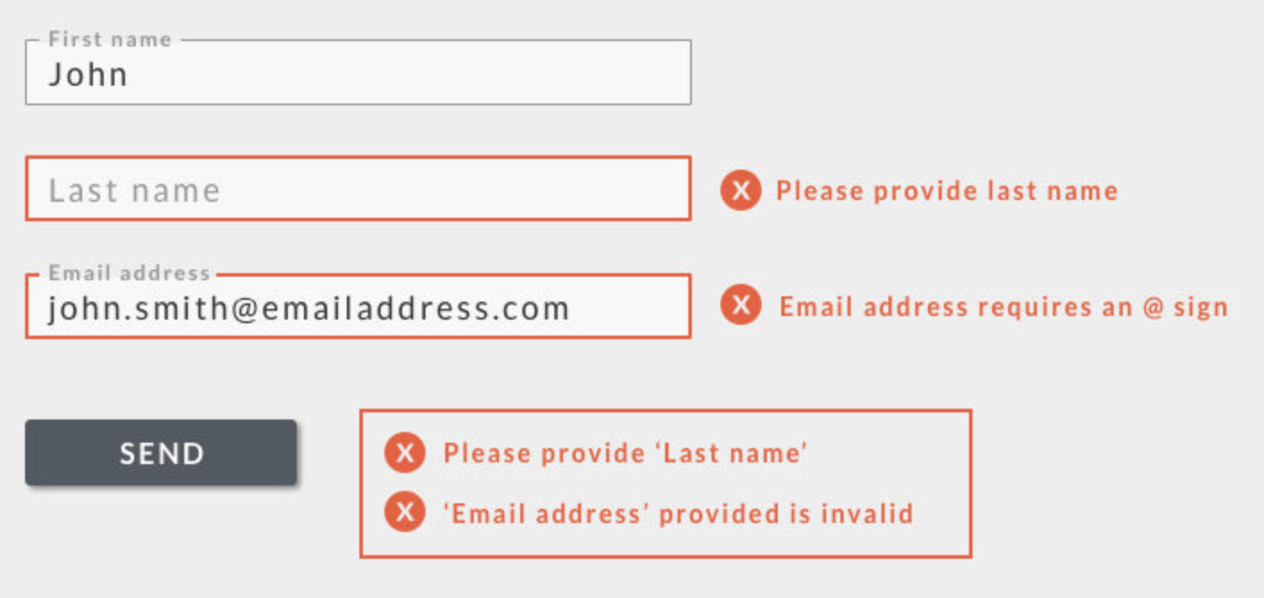 Hubspot inline validation example