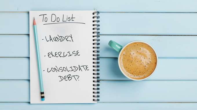 to do list featuring debt consolidation