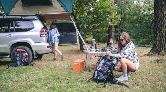 staycation ideas, including camping